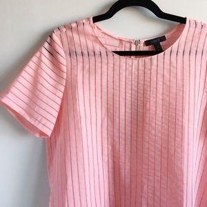 J. Crew Pink Sheer Striped Short Sleeve Blouse